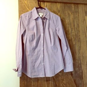 Loft purple and white tailored women's fit blouse